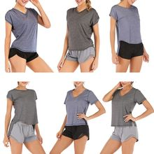 Women Open Back Top Shirts Short Sleeve Sport Fitness T Shirt Tie Tops Gym Workout