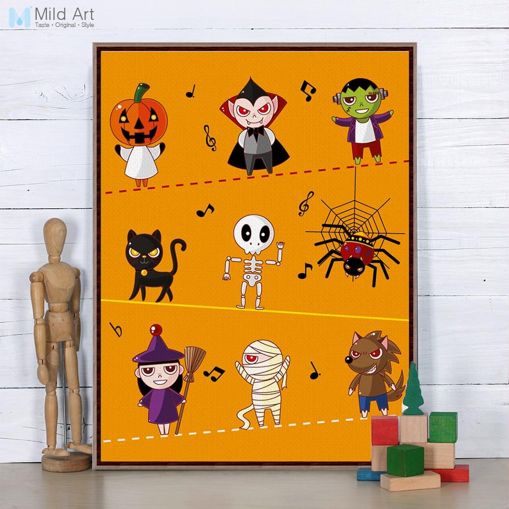 halloween modern cartoon a3 poster prints orange pumpkin ghost