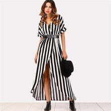 2018 Women Summer Striped Dress Asymmetrical Split Front Casual Maxi Dress Short Sleeve V Neck Party Dress
