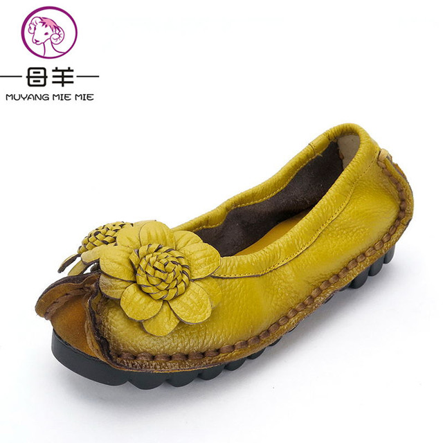 Women Shoes 2017 Fashion Genuine Leather Flat Shoes Woman Loafers Flower Handmade Moccasins Single Casual Soft Shoes Women Flats