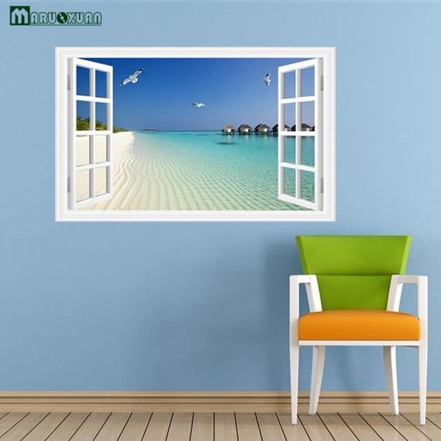 Maruoxuan Vinyl Wall Decorations Art Living Room Bedroom False Window Ocean Beach