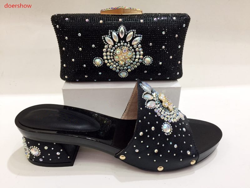doershow Nice Design silver Italian Shoes With Matching Bags Latest Rhinestone African Women Shoes and Bags Set For Sale KH1-13 stylish women s satchel with rhinestone and rivet design