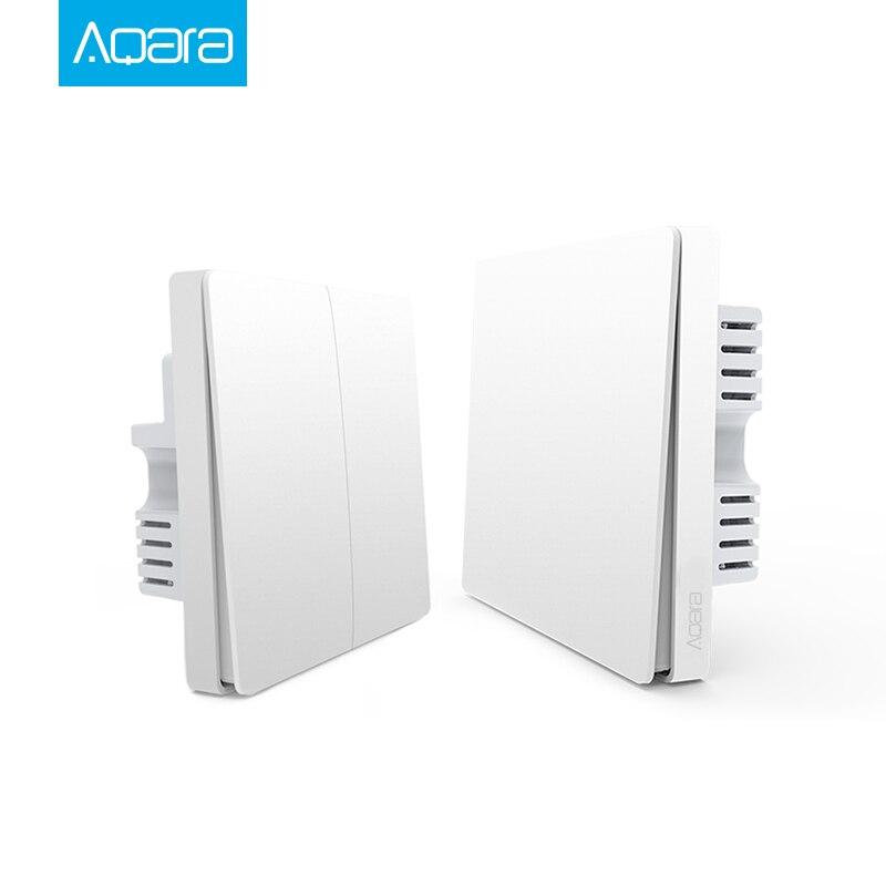New Xiaomi Aqara Smart Light Control Single Fire Wire 86 ZiGBee Wall Switch Single/Double Wireless Key Mijia APP Wall Box