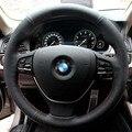 Cubierta del Volante del coche de Cuero Cubre para BMW 5 serie 2014 525i 7 series 730i Genuino Cuero Especial DIY Mano-cosido