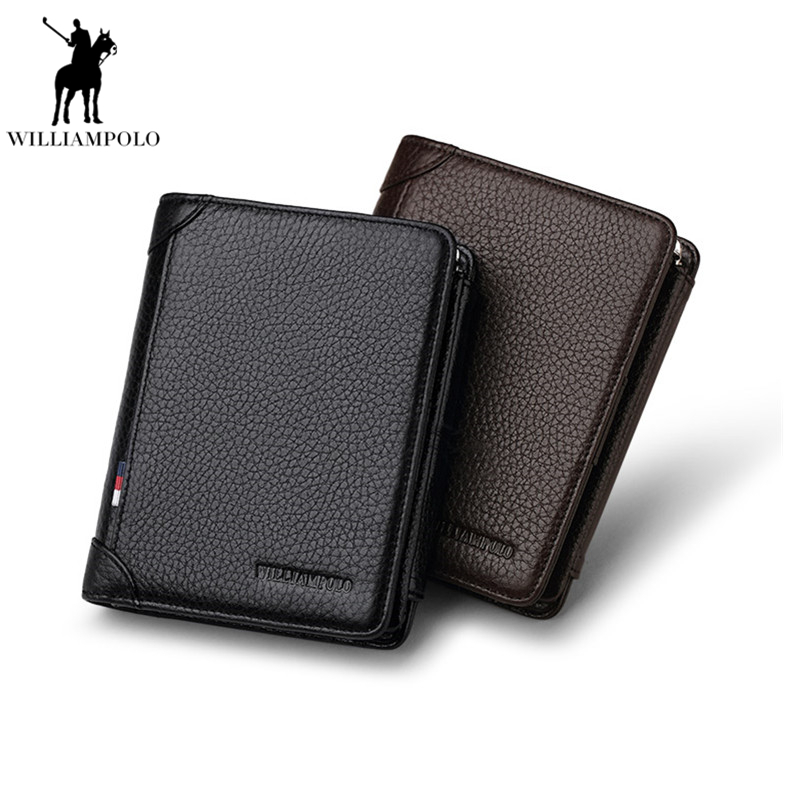 Williampolo 2018 Short Wallet Man Zipper Leather Trifold Wallet Genuine Leather Wallet Men Genuine Cow Leather Wallet PL265 цена