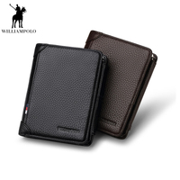 Williampolo 2019 Short Wallet Man Zipper Leather Trifold Wallet Genuine Leather Wallet Men Genuine Cow Leather Wallet PL265