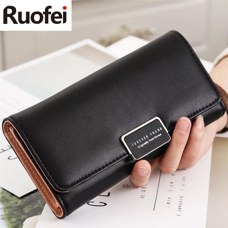 RUO FEI new Arrival Women Wallets Purse Female Purse Women's Natural Leather Wallets PU Ladies Clutch Phone Bag Carteira Femini
