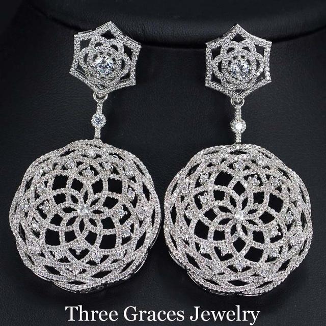 Russo novo design branco banhado a ouro criado diamante micro pave cubic zircon blooming flower big oscila brincos para as mulheres er230