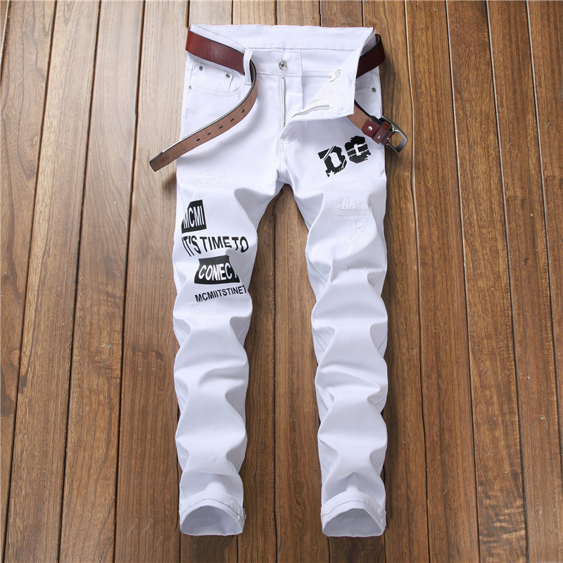 Letter Print Solid Jeans Fashion Slim Long Denim Trousers F17