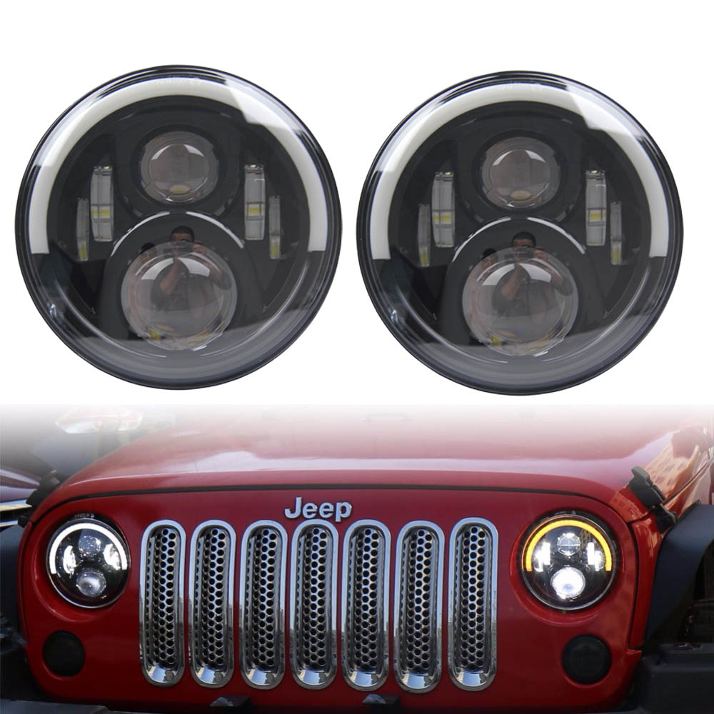 7 inch LED Round Headlight Halo drl Turn Signal Lights daymarker Hi/Lo Beam 60W For Jeep Wrangler JK TJ LJ 1997 - 2017 7 inch 120w 9000 lumen hi lo beam led headlights with half top halo ring angel eyes drl turn signal for jeep wrangler jk tj lj