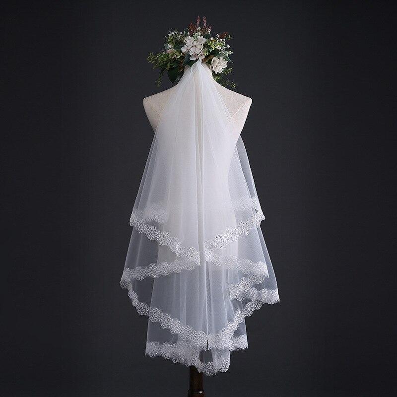 New Bride Veil 1.5 M And 3M Sequins Wedding Veil Accessories Long Tail Simple Appliques Lace Edge TS217