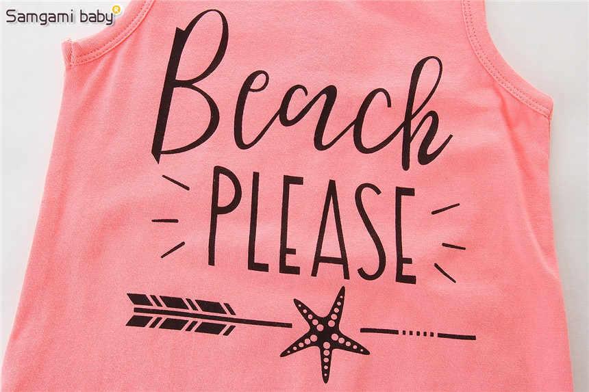 Samgami Baby летнее пляжное платье для вечеринок для девочек, майка и шорты с надписями, розовый Сарафаны с бахромой 2018 модная детская одежда для девочек От 1 до 5 лет