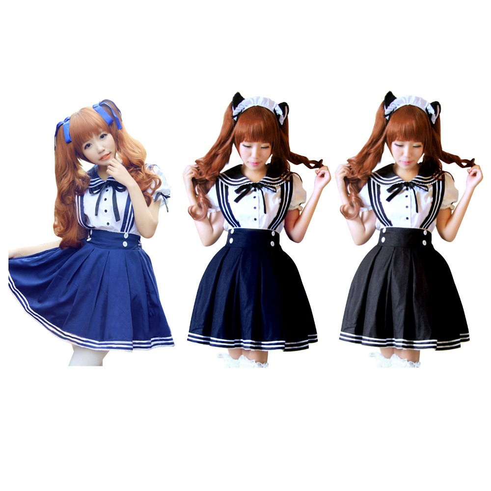 super cute hot japan school uniform cosplay costume anime girl maid