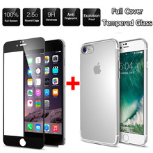 "Clear TPU Case Cover+9H Tempered Glass For iPhone 7 7 Plus HD Screen Protective Film with Housing 4.7"" 5.5"" inch White Black"