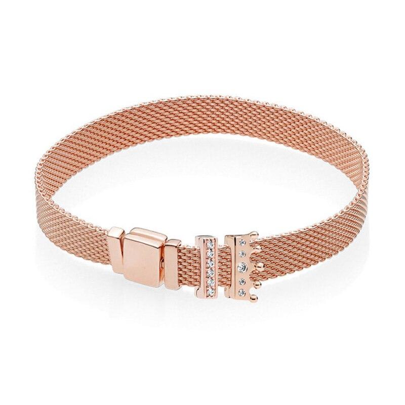 Nouveau 100% 925 Bracelet en argent Sterling réflexions ensemble couronne en or Rose élégant Fit européen bricolage Original charme perle bijoux cadeau