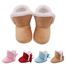 WEIXINBUY winter baby boys girls shoes russia winter infants warm shoes Faux fur girls baby booties Leather boy baby boots(China)