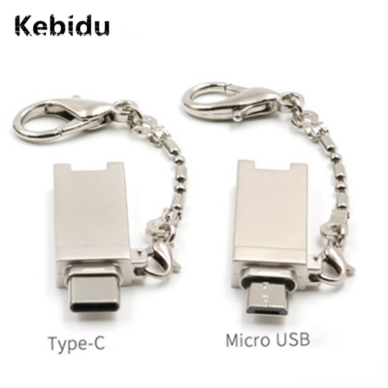 Card Readers Kebidu Type C Micro Usb Otg Memory Card Reader Aluminum Adapter With Keychain For Micro Sd/tf Pc Computer Wholesale Attractive Appearance
