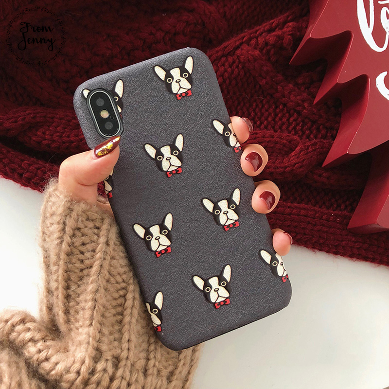 From Jenny New Years Gifts Phone Case for iphone 8 8plus 7 7plus 6 /6S Plus Cute Bulldog Red Soft Back Cover Case for iphone X
