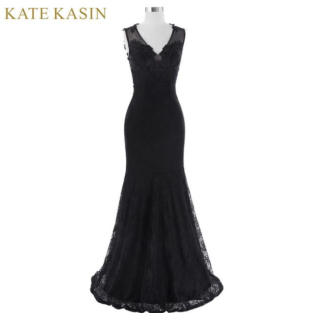 Kate kasin длинное вечернее платье без рукавов 2017 v-образным вырезом вечернее платье See-Through Назад Кружево Русалка Вечерние платья для выпускного бала платье