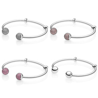MOMENTS Open Pave Multicolor Caps WIth Cubic Zirconia Bangle Fit Pandora Snake Bracelet 925 Sterling Silver Bead Charm Jewelry