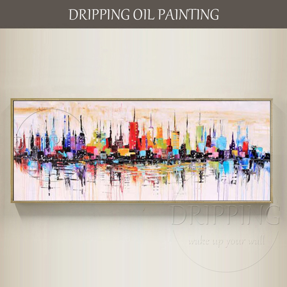 Top Artist Team Hand-painted Abstract New York Skyscrapers Oil Painting on Canvas Rich Colors Abstract Knife Oil Painting