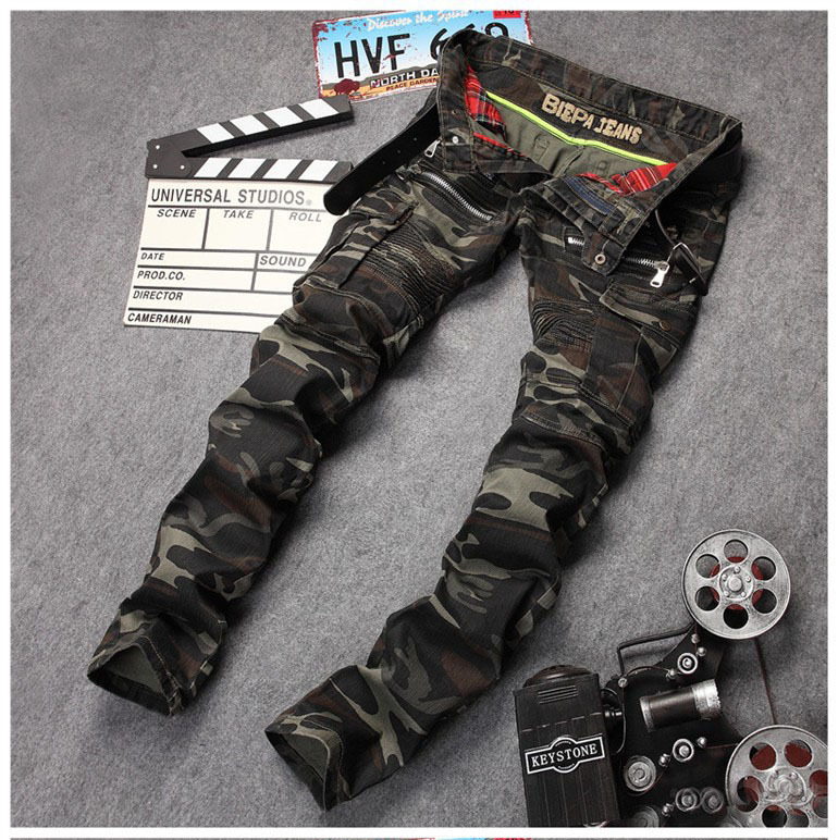 European American style Men's fashion brand casual denim trousers jeans army green luxury camouflage Slim Straight jeans men