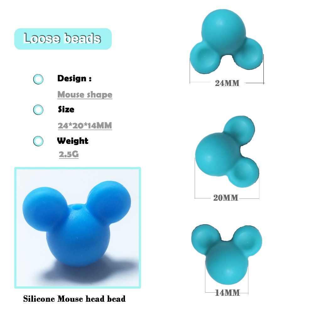 Оптовая продажа, 10 шт./лот, силиконовые бусины с Микки-Маусом для маленьких зубов, ожерелья, BPA бесплатно, прорезыватель, игрушки, аксессуары для ухода, сделай сам