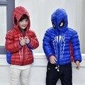 De Invierno con capucha Niños Chaquetas Para Niñas Caliente Abajo Capa De La Muchacha Ropa de Moda Outwear Espesar Chaquetas de Spiderman