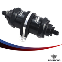 PQY RACING PQY BLACK AN6 AN8 AN10 Inline Fuel Filter E85 Ethanol With 100 Micron Stainless