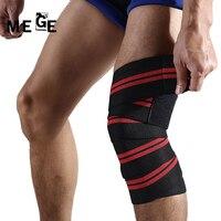 Mege ماركة 1 pair 180*8 سنتيمتر الأغطية الرجال رفع الاثقال لياقة مرونة الركبة ضمادة الساق ضغط العجل دعم يتقرفص التدريب