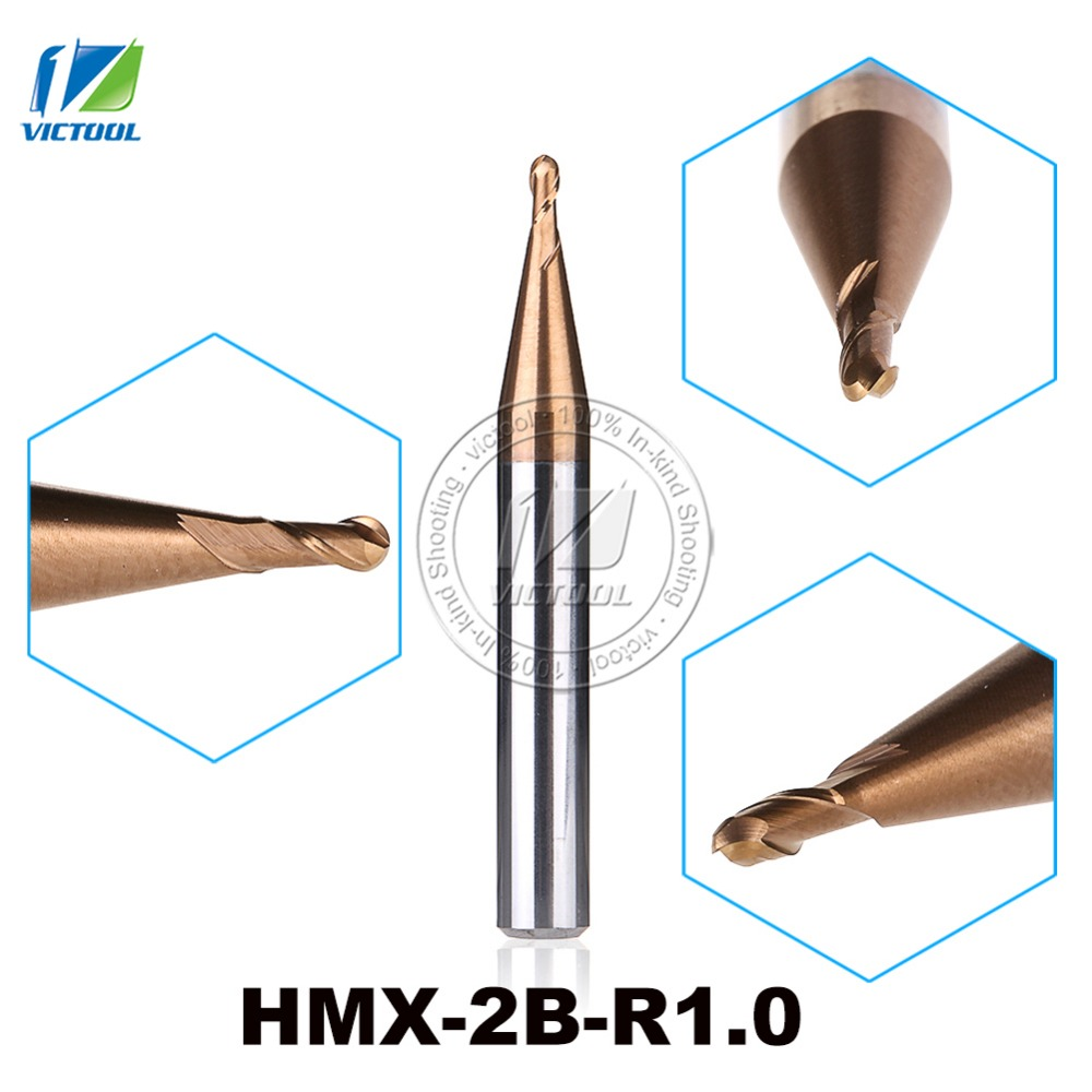 2PCS/Lot HMX-2B-R1.0 High Speed Cutting And Try Cutting 2-Flute Ball Nose End Mills Milling Cutter End Mills Straight Shank Tool 2pcs lot zcc cutting tools al 2b r2 0 solid carbide 2 0mm r2 0 2 flute ball nose cnc end mill milling cutter for aluminum