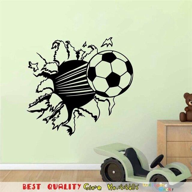 Real Football Broken Wall Stickers Fans Kids Bedroom Decoration ...