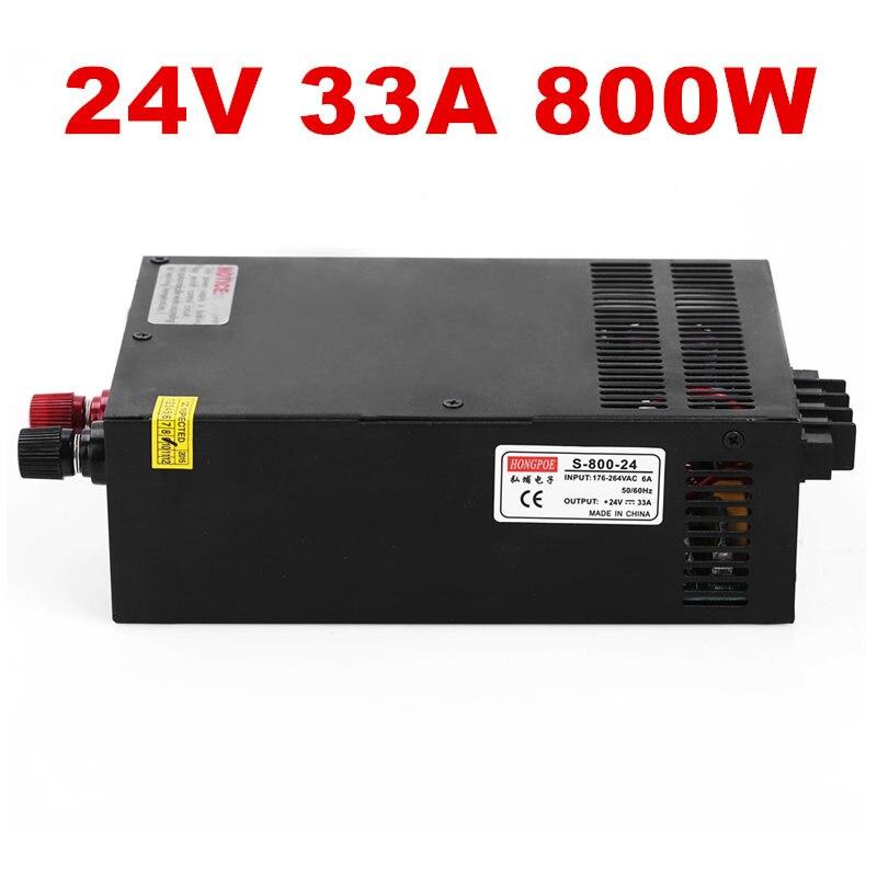 1PCS 800W 24V 33A Switching power supply input 110v or 220v for LED Strip light AC to DC power suply 24V 800w power supply 201w led switching power supply 85 265ac input 40a 16 5a 8 3a 4 2a for led strip light power suply 5v 12v output