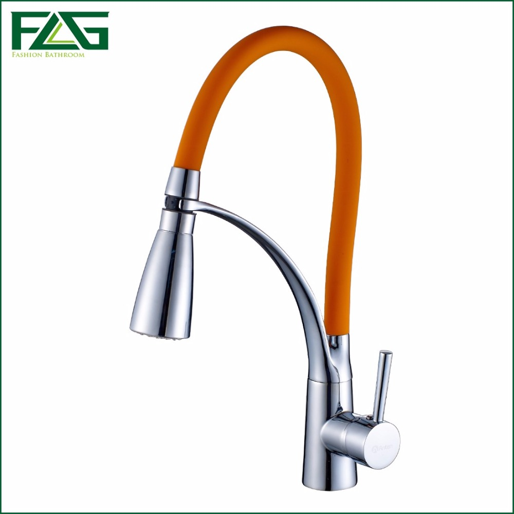 ФОТО FLG Kitchen Faucet Pull Out Chrome Cast Orange Color 360 Degree Rotating Cold And Hot LED Kitchen Taps Griferia Cocina C056PB