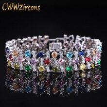CWWZircons романтический разноцветный большой широкий кубический циркон камни браслеты для женщин Свадебная вечеринка ювелирные аксессуары CB138