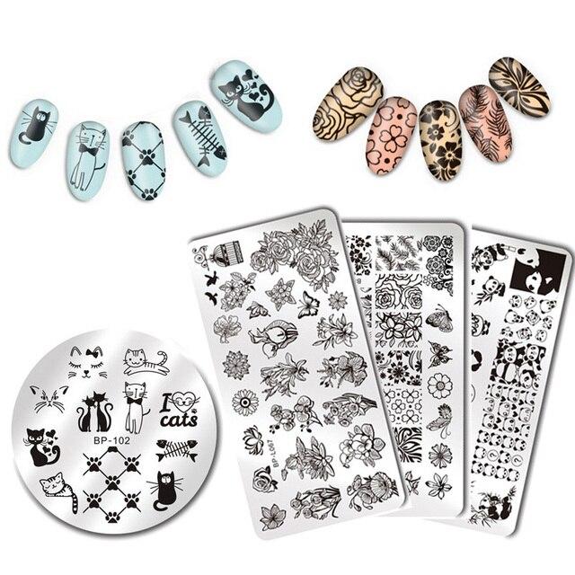 BORN PRETTY Nail Stamping Plates Animal Series Cute Cats Plant Nail ...