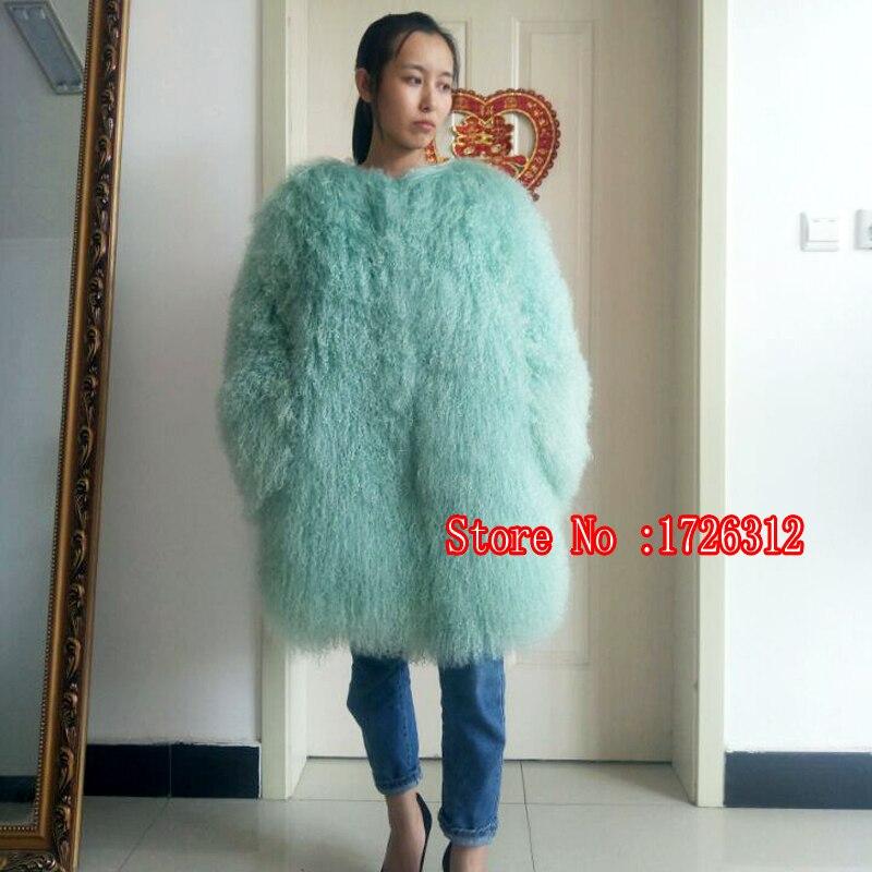 2018 Naturel Longue section réel manteau de fourrure plage laine hiver chaud outwear lady fourrure de Mongolie Moutons De Fourrure cardigan pardessus
