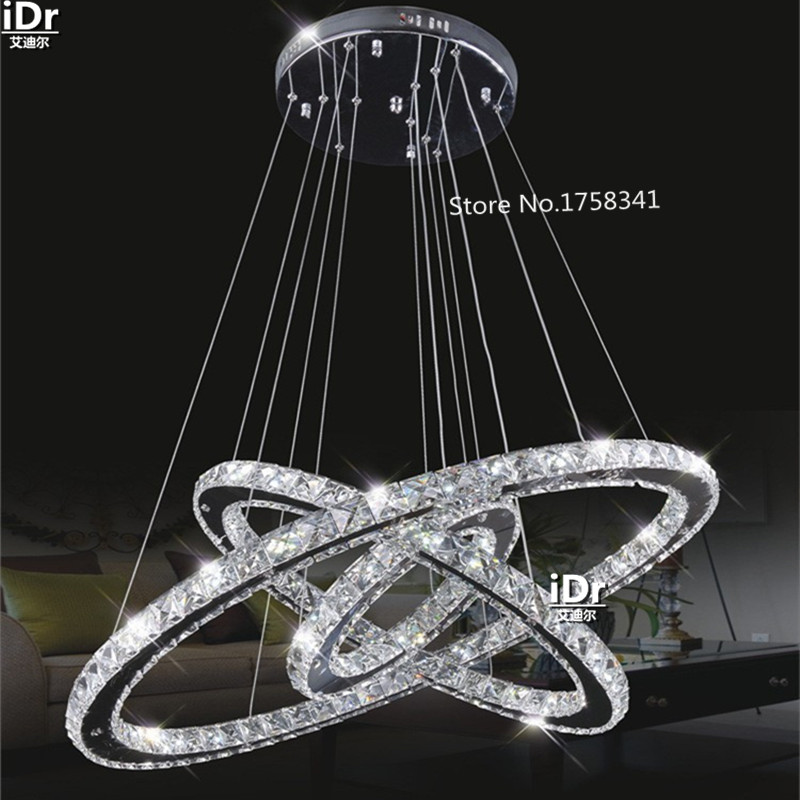 Remote modern minimalist stainless steel 3 Circles crystal lamp living room lobby restaurant bedroom rings 145W LED chandelierRemote modern minimalist stainless steel 3 Circles crystal lamp living room lobby restaurant bedroom rings 145W LED chandelier