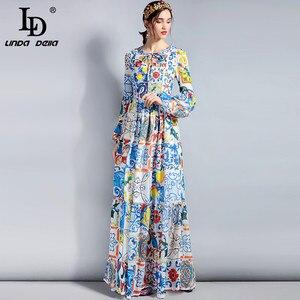 Image 4 - LD LINDA DELLA Fashion Designer Maxi Dress 5XL Plus size Womens Long Sleeve Boho Colorful Flower Print Casual Long Dress