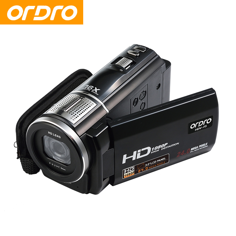 ORDRO HDV-F5 Digital Camera 16X Digital Zoom 1080P 24MP Full HD Video CMOS Sensor Digital Photo Camcorder Support Face Detection