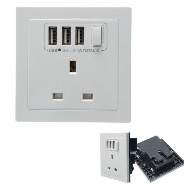 UK Plug Convenient Triple 3 USB Ports Electric Wall Charger British ...