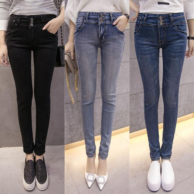 Delgado Skinny Jeans Para Mujeres Pantalones Vaqueros de Cintura Alta Mujer Azul Lápiz Pantalones de mezclilla Vaqueros de Las Mujeres Negras Pantalones Calca Feminina Plus tamaño