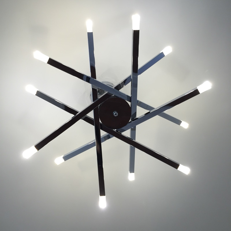 Cafe modern G4 led pendant lights 12 pcs CE contemporary lamp holder Metal Rod chrome star pendant lamp ceiling  Free Shipping 18w dual led ceiling lamp 140 270mm ce