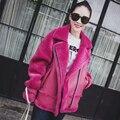 Popular Genuine Fur Coat Real Sheepskin Fur Jackets Rose Suede Short Clothes Female Beige Double-faced Cool Overcoat Real Fur