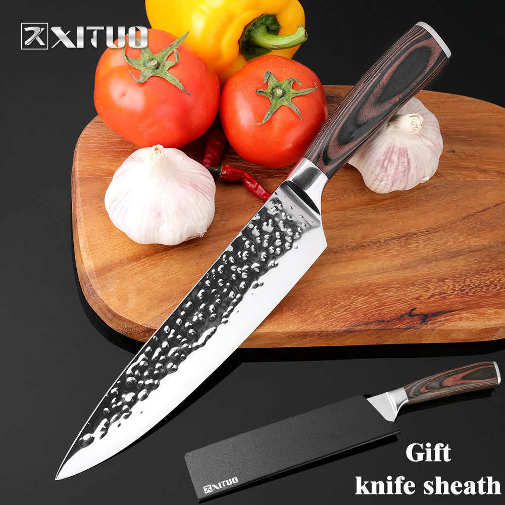 "XITUO New Chef Knives 8""inch Handmade Forged 7Cr17Mov Stainless Steel Sharp Kitchen Knife Santoku Filleting Cleaver Slicing Tool"