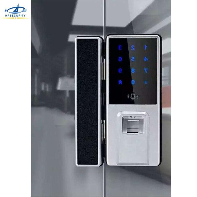 [HFSECURITY] Fingerprint Glass Door Lock For Single Glass Door Card  Fingerprint Password Access Control