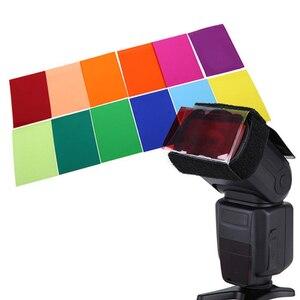 Image 2 - Gosear 12 قطع شفافة اللون هلام تصفية ضوء فيلم ورقة فلتر حامل 12 اللون للاستوديو فك مضيا 1.8x3 بوصة