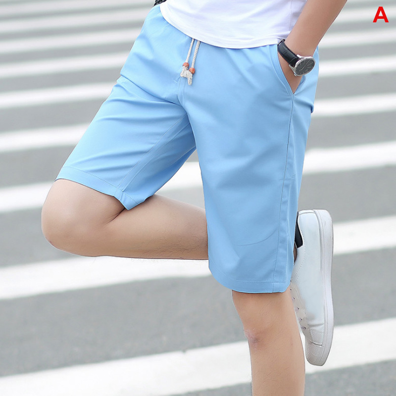 Men Shorts Half-Pants Breathable Summer New Solid Mid for MV66 Slim-Fit Middle-Waist