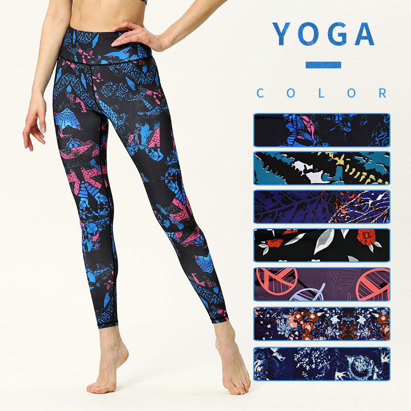 High Waist Yoga Pants Women's Fitness Sport Leggings Printing Elastic Gym Workout Tights S-XL Running Trousers Plus Size image