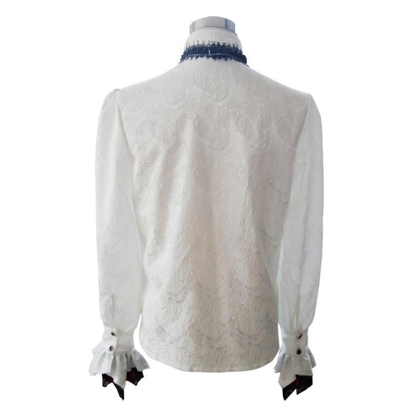 Британский стиль Стимпанк Викторианский белые блузки с галстуком воротник размера плюс 3XL Готический мужской длинный рукав платье рубашка для мужчин - 6